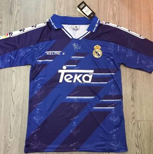 94 95 96 Retro Jersey Real Madrid # 7 Raul # 9 Zamorano Nº 6 Redondo Shirts Calcio Vintage MAGLIA Camiseta de futbol