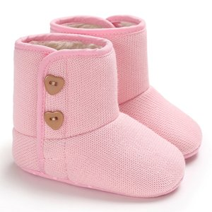 Baby Girls Boys Pink Booties Autumn Winter Soft Cotton Flats Shoes First Walkers Anti-slip Fluffy Boots Indoor Warm Crib Shoes