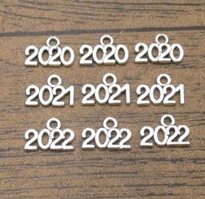 Ano 2020 2021 2022 Charms 60PCS / LOT 14 * 10mm Handmade Artesanato de Charme brincos pulseira colar de prata antigo Tone-WY1349