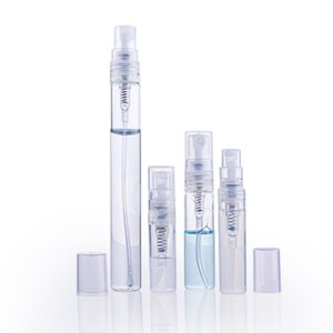 500pcs / lot 2 ml 3 ml 5 ml 10 ml Sprühflasche Leer Klarglas nachfüllbar Tragbare Parfüm feinen Nebel Atomizer Sprayer Schlauch Kosmetik für die Reise