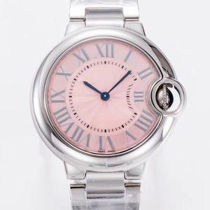 2020 Горячих женской продажа 36mm часы розового Ballon кварцевого механизм 316 Нежного Стальной корпус белых лиц смотреть Женские часы наручных часов
