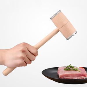 Ahşap Et Tenderizer Çekiç Çift Yan Alüminyum biftek Sığır Domuz Tavuk Çekiç Mutfak Aletleri Profesyonel Et Ahşap Çekiçler VF1585 T03