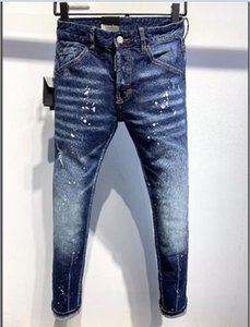 NEW Unique Mens Badge Rips Stretch Black Jeans Fashion Slim Fit Washed Motocycle Denim Pants Panelled Hip HOP Trousers