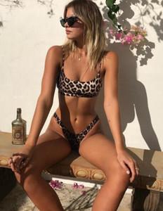 2020 Conception Bikini costume Maillot une pièce boucle de ceinture en tissu couleur unie fendu maillots de bain sexy imprimé léopard Bikinis ensemble plage populaire yakuda