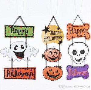 Colgar en la pared de Halloween decoración fantasma tres colgantes cráneo calabaza de Halloween banners cabeza colgar tiras de etiquetas colgantes
