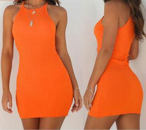 المرأة الجديدة فساتين السيدات مثير الصيف أكمام تانك سليم البسيطة قصير محبوك bodycon فستان الشمس البرتقالي أسود أحمر زائد الحجم