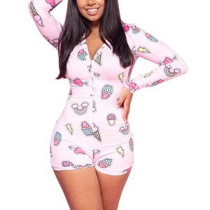 NEW 2020 Sexy Женщины Комбинезоны Пижамы Bodysuit с длинным рукавом Глубокий V шеи Bodycon Stretch трико Top Button Short Пижамы легкий костюм с шортами