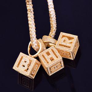 A-Z Individual estereoscópica de la letra Colgante con cadena de plata Collar de Oro Tenis Cubic Zircon Hombres Mujeres HipHop Roca joyería