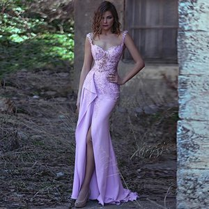 New Design Spaghetti Straps Purple Evening Dress With Beaded Lace Stain Front Slit Prom Party Dress Custom Made