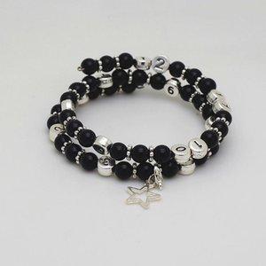 Handmade Natural Stone Beads Black Onyx Clock Number Bracelet for Women