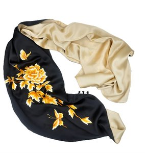 Hand-embroidered peony shawl a Chinese style birthday gift of mulberry silk