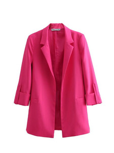 Quarter BBWM moda mulher Rose Red Três luva Blazers Casual Mulheres Abrir ponto entalhado Blazer elegante Casaco Femme