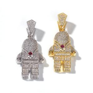 New Hip Hop Or / couleur Argent Plaqué Cuivre Bling Glacé Sur Micro Pave 3A CZ Astronaute Pendentif Collier Pour Hommes À La Mode Bijoux En Gros