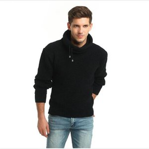 2020 Fashion pullovers men's high collar pure color Bold lines Stretch thickened sweater casual keep warm knitng sweater