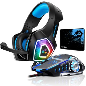 Hunterspider Stereo Gaming Headset Casque Surround Sound Headphones with Mic LED Light for PC Laptop PS4+Gaming Mouse+Mice Pad