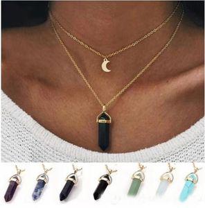 Природные ожерелье кулона пули камня для женщин роскоши дизайнера красочных камней подвесков богемского ожерелья подарка ювелирных изделий 7 цветов