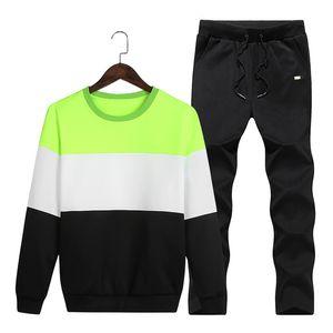 Camisola Homens Treino Sportswear Set Sweat novíssimo Primavera Outono 2pcs gola velo retalhos Mens Casual Suits Hoodie Men M-4XL