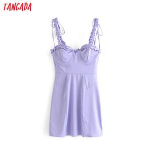 Tangada donne estate viola sexy vestito arco cinturino 2019 stile francese signore increspature mini vestito vestidos 4D09