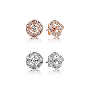 18K Rose gold Vintage Allure Earrings Caja original para Pandora 925 plata esterlina CZ Diamond mujeres niñas regalo Stud Earring Set