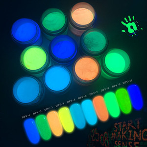 Koyu pigment Floresan tırnak sanat daldırma toz NA055 Nail Art Noctilucent toz 10ML yeşil sarı Ultrafine Işık