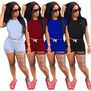 1 Kısa Kollu T Shirt + 1 Kısa Pantolon Giyim Kadın eşofman Kızlar Setleri Bayanlar Casual Koşu Giyim Yetişkin Spor Suit