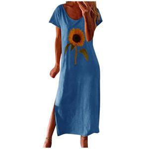 Fashion Women Loose Sunflower Print Dress Summer Short Sleeves Side Split O-neck Casual Dress New Loose Casual Woman