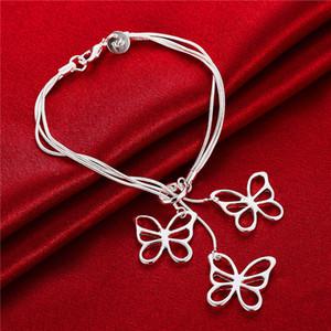 düğün Tai chi asılı üç kelebekler 925 gümüş bileziği 19cm DFMWB166, kadın gümüş kaplama takı bilezik
