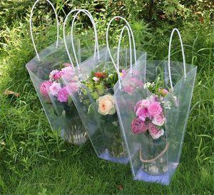 Трапециевидный Прозрачный мешок подарков Пластиковые водонепроницаемый цветок сумки сумки магазин пакет партии Праздничные цветы Пакет сумки
