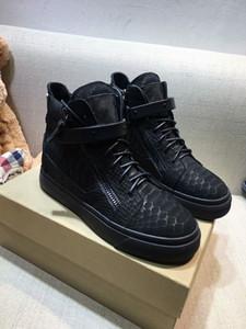 Giuseppe Zanotti Designer Fastlane Sneaker classique Mans Monogram en cuir Chaussures Hommes Noir Baskets Chaussures Randonnée Escalade Chaussures Casual adn18042703