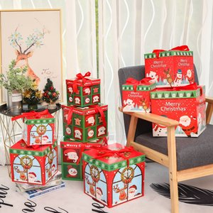 3 unids / lote DIY Caja de regalo de Navidad Familia Familia Caja de chocolate Caja de Navidad Decoración de Navidad Regalo de regalo Packaging Ventana de Navidad Porps