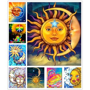 hot sale 5d diamond painting full square sun and moon diy diamond embroidery full set heart rhinestone pictures decoration home