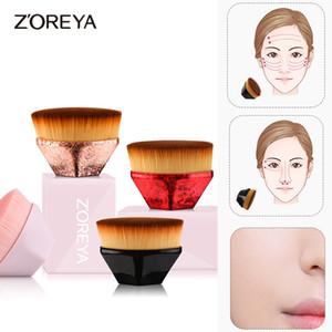 Zoreya Hexagon Foundation Makeup Brush Petal 55 Flat Top Kabuki Face Blush Powder Foundation Brushes for Cream or Liquid Cosmetics