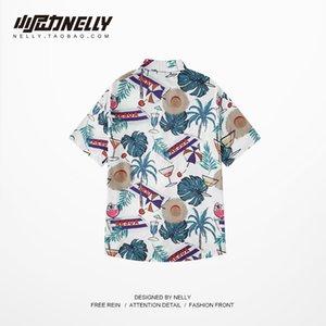 2019 여름 뉴 힙합 인쇄 미니 디자인 복고풍 셔츠 재미 반팔 비치웨어 여름 남성과 여성