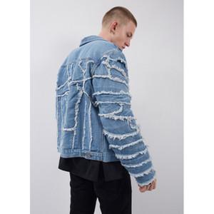 Mavi Denim ceketler Erkek 2020ss Yeni Moda Sokak Kot Ceket Hip Hop Ceketler Erkekler