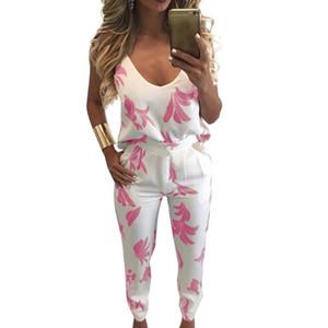 Eşofman İçin Kadınlar İki Adet Set Cami Tank Top Pantolon Yaprak Baskı V Yaka Backless 2020 Geri Yelek Pantolon Kadın Sweatpants Zip
