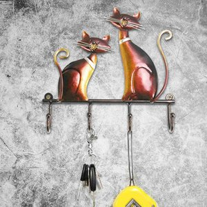 Cat Sculpture Wall Hanger Hooks Art Wall Decorative Wall Mount Key Holder 4 Hooks Decor for Coats Bags Clothes Holder Decorative As Gift