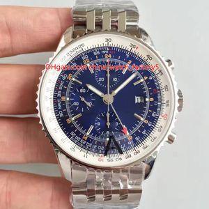 46 millimetri 3 Stile migliore qualità JF Maker uomini del mondo GMT 46 Chronograph A24322121C2A1 svizzero ETA 7750 movimento automatico Mens Watch Watches