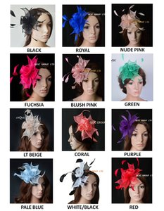 Wholesale NEW 12 colours.Small Combs Sinamay Rose Fascinator with Feathers for wedding,kentucky derby,party.FREE SHIPPING