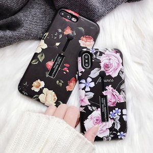 Retro Classical Flowers Phone Case For iPhone 6 6S 7 8 Plus X Soft TPU Phone Back Cover Holder Stand Cases for iPhone7 Plus