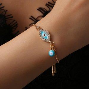 2018 Braccialetti turchi fortunati di cristallo blu dell'occhio diabolico per le donne Catene d'oro fatte a mano Bracciale gioielli fortunati gioielli donna # 287363