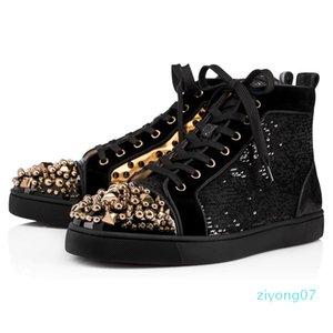 2020 дизайнерская обувь шипованные Шипы мода Красная замша кожа мужские женские плоские днища роскошные туфли любителей вечеринок кроссовки размер 36-46 z07