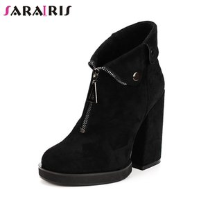 SARAIRIS New Ladies High Heels Ankle Boots Women 2019 Zip Shoes Woman Casual Office Spring Autumn Boots Big Size 35-41