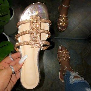 Alta calidad de las mujeres al aire libre sandalias de cristal plana romana zapatos de los deslizadores ocasionales de la playa Sandalias Negro Oro 2020 Calzado mujer