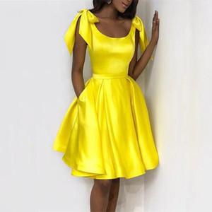 Желтый Атлас короткие платья возвращения на родину 2020 реальная жизнь колено колено обратно в школу милый 8-й класс выпускной дешевые платья партии