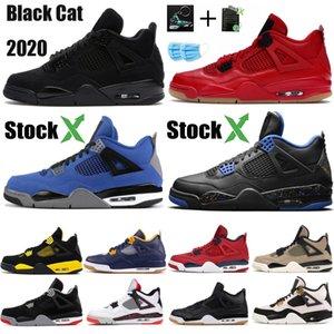 New Black Cat 2020 4 4s Jumpman Баскетбол обувь утепленная Лояльные Синяя Что Прохладное Серого Мужчина стилист обувь Бреда Eminem Encore кроссовки