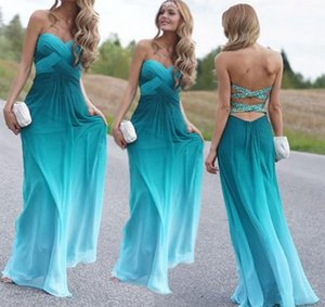 Gradient Chiffon Bridesmaid Dresses Long 2021 Auqa Green Pleated Strapless Prom Dress Open Back Evening Formal Wedding Guest Dress Cheap