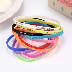Mode Luminous-Gelee-Silikon-Armband-Sport-Armband englischen Buchstaben-Armband Armband mischte Art Hand Ringe gelegentliche Anlieferung jm002