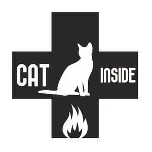 15 *15cm Cat Inside Fire Emergency Sticker Decal Stickers Cute And Interesting Fashion Sticker Decals