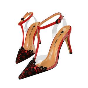 Mujeres Sexy Sandalias De Encaje Hebilla Correa Tacones Altos Dama Punta estrecha Zapatos De Vestir Estilete T-correa Bombas XW73