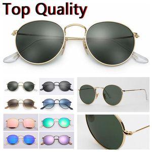высокое качество солнцезащитные очки женщины 2020 человек металлический каркас круглые солнцезащитные очки мужской вождения 001 50 мм 3447 круг металлические аксессуары летние очки gafas
